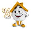 Kleines 3D Haus Orange - Prozent Symbol