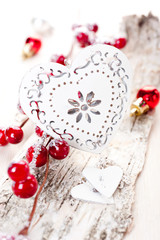 Christmas decorations with a heart in a vintage style