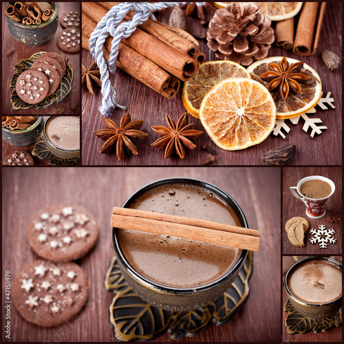 Sweets, coffee and spices. Christmas collage.