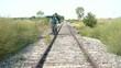 Walking Fine Line Railroad Tracks