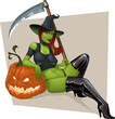 sexy witch with pumpkin