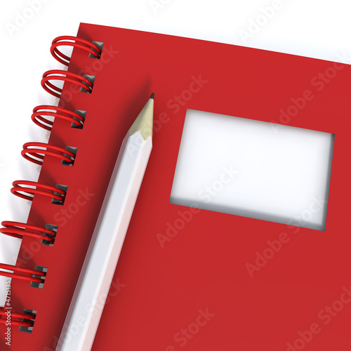Spiral Notebook With Pencil, High-resolution 3d rendering