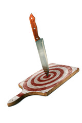 Kitchen Cutting Board with Knife and Target Isolated on White