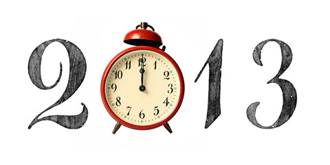 2013 New Year Sign with Vintage Bell Clock Showing Midnight