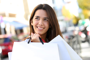 Portrait of beautiful shopping girl holding bags