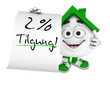 Kleines 3D Haus Grün - 2 Prozent Tilgung
