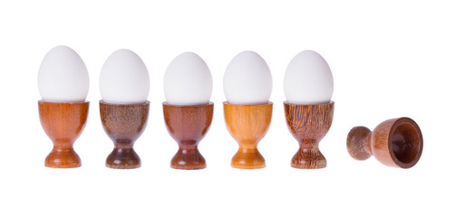 Set of different  wooden egg cups