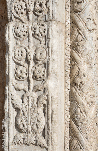 Closeup of Marble Decoration - XII Century Verona Italy