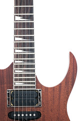 electric guitar fingerboard with sharktooth inlay