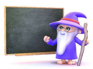 Wizard teaches in front of chalkboard