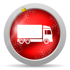 delivery red glossy christmas icon on white background