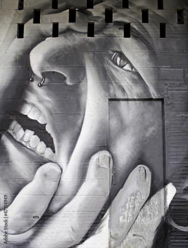Fototapeten,zeichnung,wand,gesicht,person