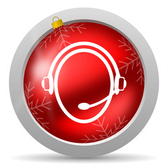customer service red glossy christmas icon on white background