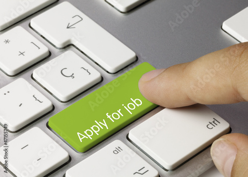 Apply for job keyboard key. Finger