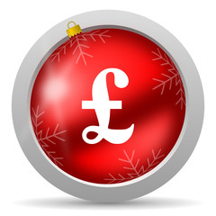 pound red glossy christmas icon on white background