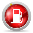 fuel red glossy christmas icon on white background
