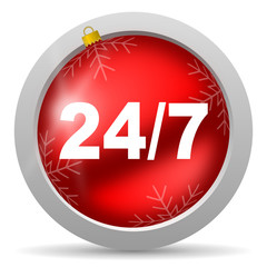24/7 red glossy christmas icon on white background
