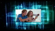Young people with video games videos on digital background