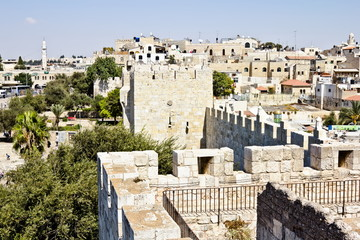 View from the walls of ancient Jerusalem's Damascus Gate