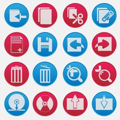 Personal Computer Red And Blue Icon Set