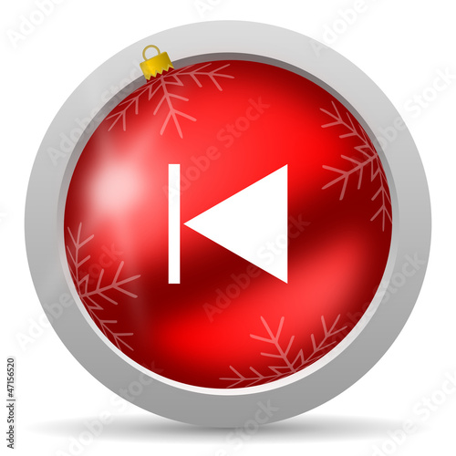 prev red glossy christmas icon on white background