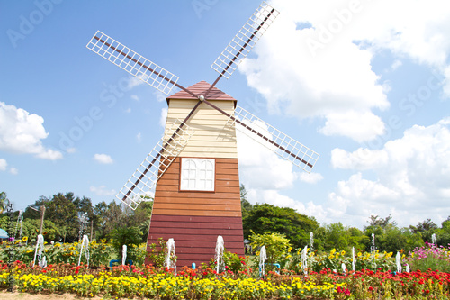 Traditional Dutch windmills with blue sky