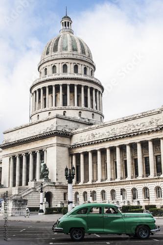 Aluminium Cubaanse oldtimers Havana Capitolio