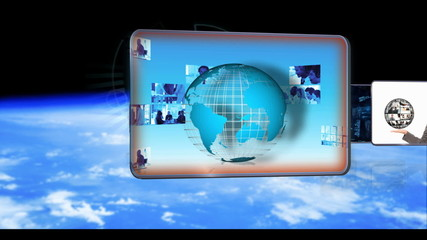 Animated of businesspeople global business and dna technology