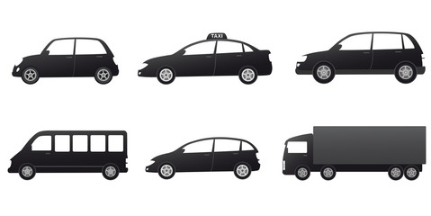 transport set with black cars silhouette