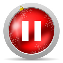 pause red glossy christmas icon on white background