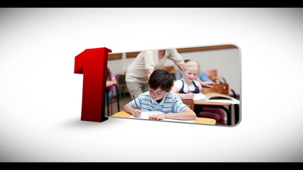 Animated numeration of children doing various activities