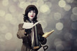 Young postman girl with mail. Photo in old color style with boke