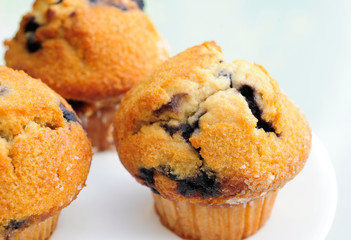 Closed up Delicious Blueberry Muffins