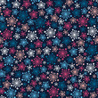 Seamless dark pattern with color stylized snowflakes. Vector