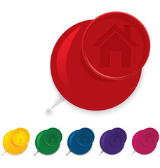 Home icon push pin vector