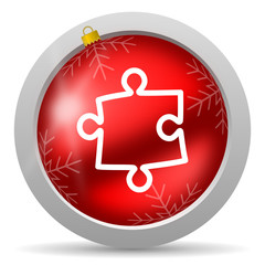 puzzle red glossy christmas icon on white background