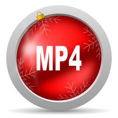 mp4 red glossy christmas icon on white background