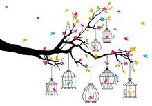 Arbre avec des oiseaux et des cages à oiseaux, vecteur