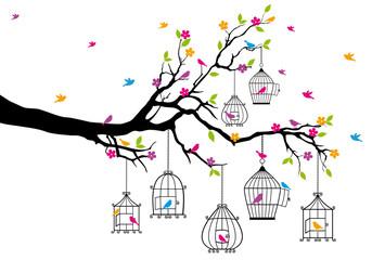fototapeta drzewo z ptaków i klatki dla ptaków