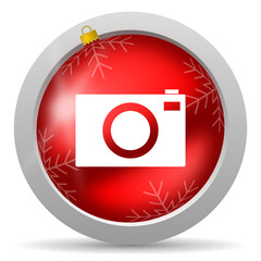 camera red glossy christmas icon on white background
