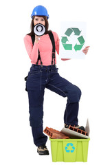 Construction worker calling on you to recycle material