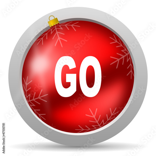 go red glossy christmas icon on white background