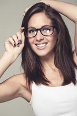 Coole Brillenträgerin