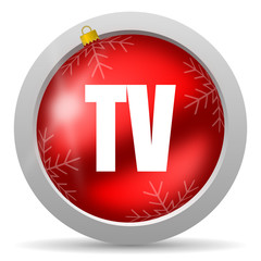 tv red glossy christmas icon on white background