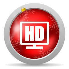 hd display red glossy christmas icon on white background