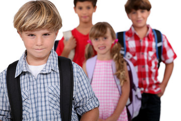 Schoolchildren with bags