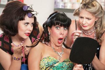 Shocked Female in Hair Salon