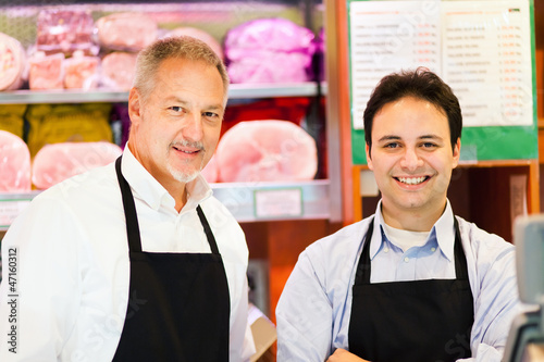 Butchers at shop
