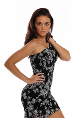 Young Brunnette wearing a black dress