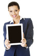 Business woman holding tablet PC with touch pad.